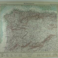 HARTA VECHE - SPANIA DE NORDVEST - DIN STIELERS HAND ATLAS - 1928/9 - EDITOR GOTHA JUSTUS PERTHES - DR.H.HAACK