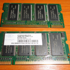 Sodimm 512 MB(2x256) DDR 333 Pc 2700 Mhz Cl 2.5 - Memorie RAM laptop Nanya, 256 MB, 333 mhz, Dual channel