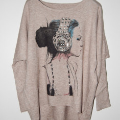 Bluze dama Fashion din Casmir 100% - Bluza dama, Marime: Marime universala, Culoare: Bej, Maneca lunga