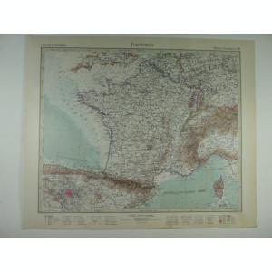 HARTA VECHE - FRANTA - DIN STIELERS HAND ATLAS - 1928/9