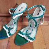 Vand sandale de dama - Sandale dama, Culoare: Turcoaz, Marime: 38, Piele sintetica, Turcoaz