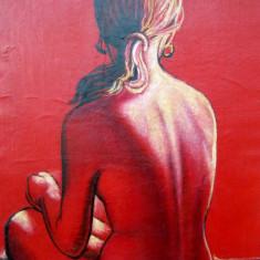 Tablou, Pictura pe panza Nud, anii 70' (rosu senzual)