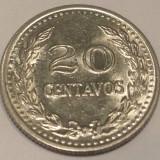 G5. COLUMBIA 20 CENTAVOS 1975, 4.50 g., Nickel Clad Steel, 23.6 mm **, America Centrala si de Sud