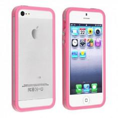 Bumper iphone 5 transparent cu margine roz mat  + folie ecran si cablu date cadou