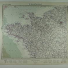 HARTA VECHE - FRANTA DE NORD - DIN STIELERS HAND ATLAS - 1928/9
