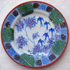 Superba farfurioara pentru prajitura din portelan japonez pictata manual, Farfurii