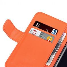 Husa Galaxy S5 Neo Samsung S5 piele ECO portocalie + folie protectie display - Husa Telefon Samsung, Samsung Galaxy S5, Portocaliu, Piele Ecologica, Cu clapeta