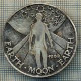 ATAM2001 MEDALIE 428 -AEROSPATIALA - EARTH-MOON-EARTH(PAMANT-LUNA-PAMANT) 1969 - 100 TEMPO GOLD -CALATORIA OMULUI PE LUNA - starea care se vede