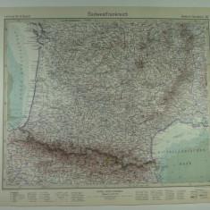 HARTA VECHE - SUDVESTUL FRANTEI - DIN STIELERS HAND ATLAS - 1928/9 - EDITOR GOTHA JUSTUS PERTHES - DR.H.HAACK