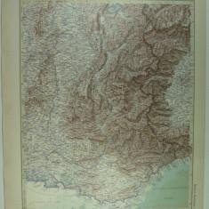 HARTA VECHE - ALPII DE VEST - DIN STIELERS HAND ATLAS - 1928/9 - EDITOR GOTHA JUSTUS PERTHES - DR.H.HAACK