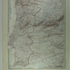 HARTA VECHE - PORTUGALIA - DIN STIELERS HAND ATLAS - 1928/9