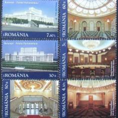 ROMANIA 2011 - PALATUL PARLAMENTULUI 6 VALORI, NEOBLITERATE - RO 0084