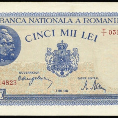 5000 LEI MAI 1944 UNC - Bancnota romaneasca