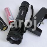 Lanterna tactica Police CREE XM-L T6 LED cu zoom si acumulator +incarcator priza