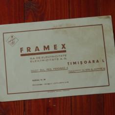 Reclama interbelica tiparita Timisoara in limba Romana si Germana - Meteor si Framex - de colectie !!!! - Reclama Tiparita