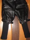 Pantaloni negri imitatie piele, Negru, M