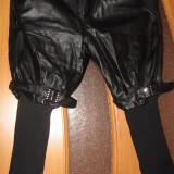 Pantaloni negri imitatie piele - Pantaloni dama, Marime: M, Culoare: Negru