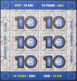 LOT TIMBRE ROMANIA - 10 ANI MONEDA EURO CU FOLIE DE AUR 2009 - RO 0091