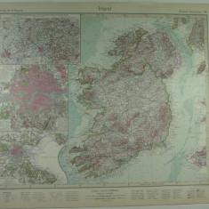 HARTA VECHE - IRLANDA - DIN STIELERS HAND ATLAS - ANUL 1928