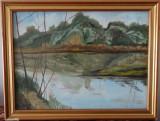 Tablou - Peisaj pe rau - ulei pe panza-semnatura indescifrabila, Peisaje, Art Deco