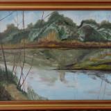 Tablou - Peisaj pe rau - ulei pe panza-semnatura indescifrabila - Tablou autor neidentificat, Peisaje, Art Deco