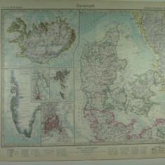HARTA VECHE - DANEMARCA - DIN STIELERS HAND ATLAS - ANUL 1928 - EDITHOR GOTHA JUSTUS PERTHES - DR.H.HAACK