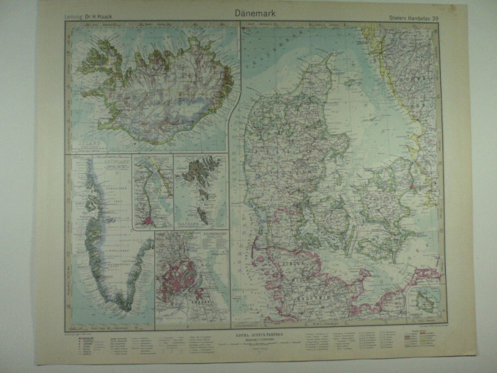 Harta Veche Danemarca Din Stielers Hand Atlas Anul 1928