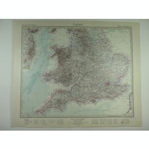 HARTA VECHE - ANGLIA - DIN STIELERS HAND ATLAS - ANUL 1928