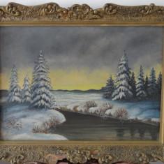 Tablou-Pictura pe panza-Peisaj de iarna-autor necunoscut