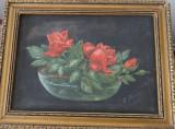 Tablou - ulei pe panza - Trandafiri in bol, L Rosu
