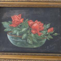 Tablou - ulei pe panza - Trandafiri in bol, L Rosu - Pictor roman