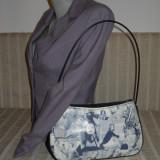 Geanta dama alb cu negru fashion cu curea de umar, Geanta de umar, Multicolor, Asemanator piele