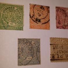 NORD DEUTSCHER 5 VALORI STAMPILATE 1868