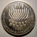 A.389 GERMANIA ANIVERSARE 25 ANI CONSTITUTIE 5 DEUTSCHE MARK 1974 F ARGINT 11,1g, Europa