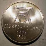 A.431 GERMANIA ALBRECHT DURER 5 DEUTSCHE MARK 1971 D AUNC ARGINT 11,1g, Europa