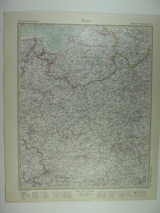 HARTA VECHE - POLONIA - DIN STIELERS HAND ATLAS - ANUL 1928