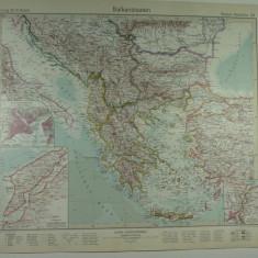 HARTA VECHE - STATELE BALCANICE - DIN STIELERS HAND ATLAS - ANUL 1928