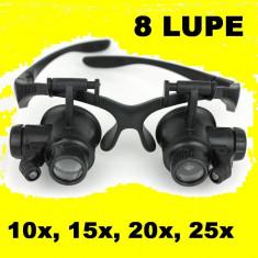 Ochelari Lupa Dubla + Lumina LED CU 8 LUPE interschimbabile Ceasornicar, etc