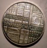 A.451 GERMANIA DENKMALSCHUTZJAHR 5 DEUTSCHE MARK 1975 F XF/AUNC ARGINT 11,1g, Europa