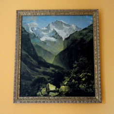tablou ulei pe panza View of the Swiss Alps from Interlaken / Vedere din Alpii elvetieni de la Interlaken - Alexey Savrasov 1862 - reproducere