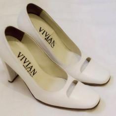 Pantofi dama, piele, Italia, albi, marimea 35 - Pantof dama Scarpe Italiane, Piele naturala