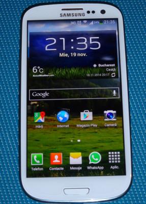 Vand telefon mobil Samsung i9300 Galaxy S III Alb (Marble White) in stare foarte buna de functionare, NECODAT + accesorii. Garantie producator 19 luni foto