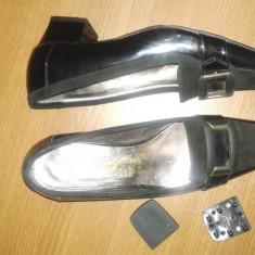 PANTOFI LAC CU ANTILOPA - Pantof dama, Culoare: Negru, Marime: 37.5, Negru, Cu toc