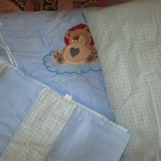 Lenjerie pat bebelus - Lenjerie pat copii, Alte dimensiuni, Albastru