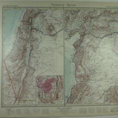 HARTA VECHE - PALESTINA - SIRIA - DIN STIELERS HAND ATLAS - ANUL 1928 - EDITOR GOTHA JUSTUS PERTHES - DR.H.HAACK