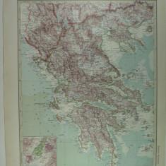 HARTA VECHE - GRECIA - DIN STIELERS HAND ATLAS - ANUL 1928