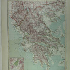 HARTA VECHE - GRECIA - DIN STIELERS HAND ATLAS - ANUL 1928 - EDITHOR GOTHA JUSTUS PERTHES - DR.H.HAACK