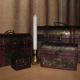 Set 3 cutii decorative din lemn