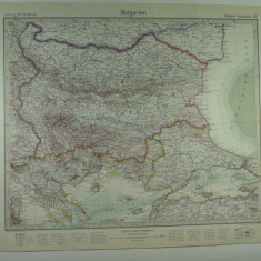 HARTA VECHE - BULGARIA - DIN STIELERS HAND ATLAS - ANUL 1928 - EDITOR GOTHA JUSTUS PERTHES - DR.H.HAACK