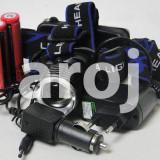 Lanterna Frontala (de cap) T6 + 2 Acumulatori+ Incarcator Masina + + Charger